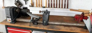 "Sears Craftsman 12"" Wood Lathe, Model 113.12540, .5 HP, Powers On, Includes Single Drawer Shop Table 32"" X 60"" X 24"", Contents Of Table Not Included"