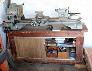 Craftsman Bench Top Metal/Wood Lathe Model Number 101.28910 With Wood Storage Bench, Mounted To Bench, Bidder Responsible For Removal, Contents Included