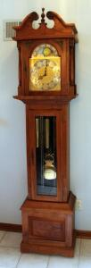 "Solid Wood Emperor Grandfather Clock, Dial Marked Made In West Germany, 81"" x 19.5"" x 12.25"", Chimes Are Working"