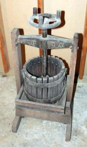 "39"" Antique Cast Iron And Oak Wine Press Labeled ""The Red Cross Manufacturing Co. Bluffton, Indiana"""