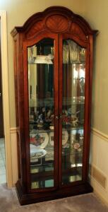 "Lighted 2-Door Curio Cabinet With Mirrored Back And 4 Glass Shelves, 79"" x 32"" x 12.5"", Contents Not Included"