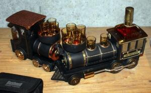 Vintage Rolling Metal 1880 Iron Horse Train Scotch Decanter With 6 Shot Glasses And Musical Metal Train Scotch Decanter With 4 Shot Glasses