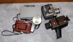 Vintage Camera Collection Including Polaroid Land Camera 210, Kodak Pony IV Camera With Leather Case & Kodalite Super M4 Flash Holder, Bell & Howell Zoomatic Director Series, And GAF ST/600P Anscomatic With 6-1 Motor Zoom