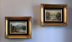 "Matching Framed Oil On Canvas Landscape Scenes Qty 2, 9"" x 11"", And Framed Floral Art Print 30"" x 16"""