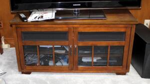 "Solid Wood 2-Door Glass Front Media Cabinet, 24"" x 47.5"" x 21"", Contents Not Included, Second Day Loadout Only"
