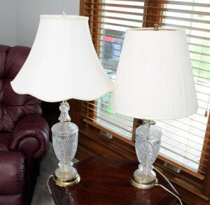 "Matching Pressed Glass Table Lamps With Shades, Qty 2, 33"" And 31"""
