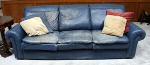 """Leather Center"" Three Cushion Leather Sofa With Rolled Arms 34"" x 92"" x 41"", (Wear Present), Matches Lot 44"
