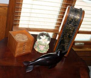 Carved Wood Dolphin Figure, Decorative Wine Box, Coaster Set, And Hummingbird Snow Globe Music Box