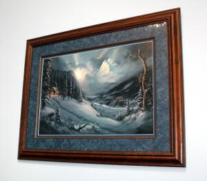 "Framed Matted Under Glass Mountain Scene, 25.5"" x 34"""