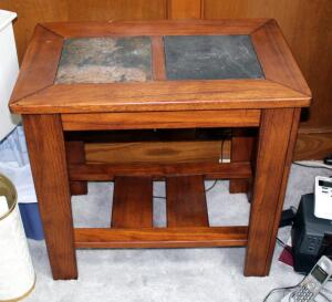 "Solid Wood End Table With Slate Top, 25"" x 16"" x 26"", Contents Not Included"