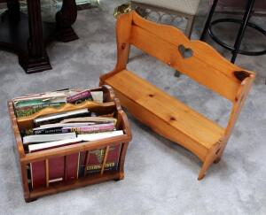 "Solid Wood Decorative Bench 20.5"" x 26"" x 7.5"" And Wood Magazine Rack 11.5"" x 17.25"" x 13"", Contents Included"