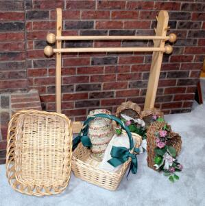 "Solid Wood Quilt Rack With Adjustable Dowels, 36.5"" x 31"", Decorative Baskets Qty 2, Woven Throws, And More"