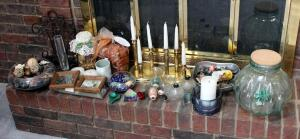 Home Decor Assortment Including Candles, Candle Holders, Glass Dishes, Metal Bowl, Storage Jar, Potpourri, And More