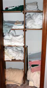 Linen Assortment Including Blanket, Sheets, Towels, Mattress Pads And More, Contents Of Closet