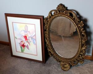 "Framed Matted Under Glass Floral Watercolor Artwork Signed Judie Hinton Numbered 3/93, 22.5"" x 18"" And Oval Wall Mirror (28.5"" Tall)"
