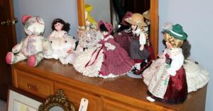 Doll Collection Including Porcelain Dolls Qty 2, Vinyl Dolls Qty 4, And More