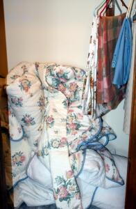 Linen Assortment Including Bedspread With Matching Shams, Pillows, Tablecloths, Doilies, Contents Of Closet