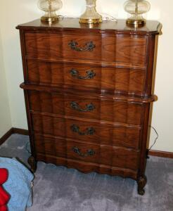 "Solid Wood 5-Drawer Victorian Style Chest Of Drawers, 48"" x 37"" x 19.5"", Matches Lots 64 & 66"