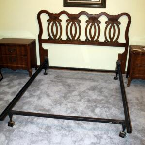 Full Size Headboard With Scallop And Scroll Design, And Full Size Metal Bed Frame