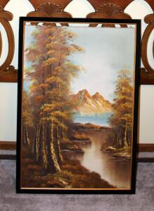 "Framed Oil On Canvas Landscape Scene 23.5"" x 27.5"" And Framed Oil On Canvas Mountain Scene 38.5"" x 26"" (Frame Needs Repair)"