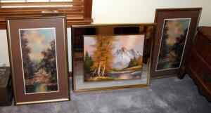 "Framed Matted Under Glass Woodland Scenes, Qty 2, 28"" x 17.5'; And Framed Oil On Canvas Mountain Scene With Mirrored Frame 24"" x 27"""