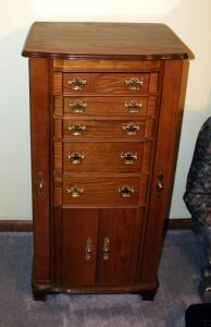 "5-Drawer Hinged Top Jewelry Armoire With Mirror And Side Storage 38.5"" x 19"" x 14"""