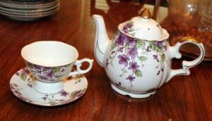 Lefton China Teapot Music Box And Matching China Tea Cup With Saucer
