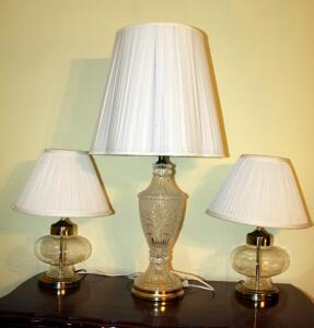 "32"" Cut Glass Table Lamp, And Matching 17"" Accent Lamps With Glass Bases, Qty 2"