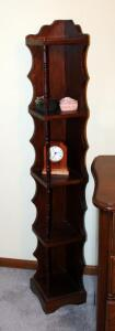 "Solid Wood Corner Shelf 54"" x 8"" x 8"", With Battery Operated Clock And Metal Trinket Box"