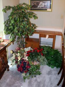 Artificial Greenery Assortment Including 5' Ficus, Baskets, Vases, Pots, And More