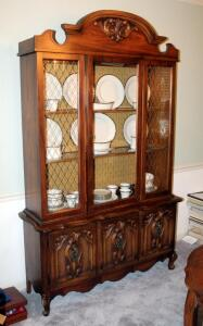 "Lighted 2-Door China Cabinet With Scroll Design And Cane Trim 79"" x 49"" x 16.5"", Contents Not Included, Second Day Loadout Only, Matches Lot 85"