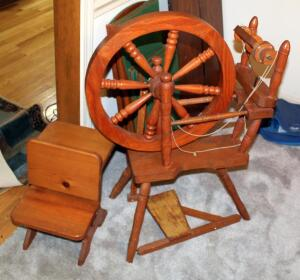 "Solid Wood Spinning Wheel, 36"" x 25"" And Decorative Wood Miniature School Desk"