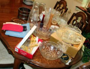 Glass Vase And Serving Piece Assortment Including Divided Plate, Pressed Glass Bowls, Vases, Hollyberry Flatware And More