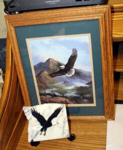 "Framed Matted Under Glass Eagle And Mountain Print 16.5"" x 13"", With Hand Painted Eagle On Raw Edge Marble Tile By Arlena Bora With Stand"