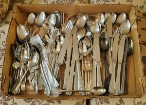 Silver Plate And Stainless Steel Flatware Assortment, Multiple Styles/Patterns, Total Qty.  89 Pieces