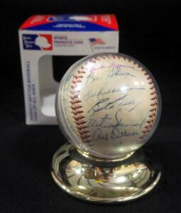 1958 New York Yankees Team Autographed Baseball Includes Mickey Mantle, Yogi Berra, And More, 26 Total Signatures, In Holder