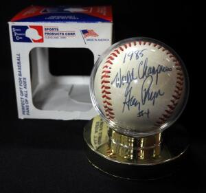 Greg Pryor Kansas City Royals 1985 World Champions Autographed Baseball, In Holder