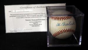 Al Barlick (HOF Umpire) Autographed Baseball With COA, In Display Box