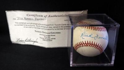 Rick Ferrell (HOF) Autographed Baseball With COA, In Display Box