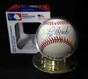 Lou Brock (HOF) Autographed Baseball, In Holder