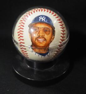 Reggie Jackson (HOF) Autographed Baseball, With Portrait, In Holder