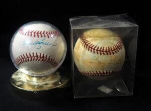 Gary Gaetti Autographed Baseball And Hank Bouer Autographed Baseball, In Holder