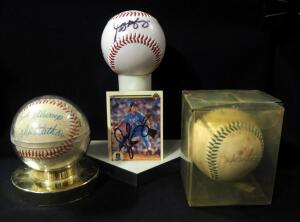 Autographed Baseballs Qty 3, Includes Kansas City Royals Carlos Beltran, Jeff Montgomery, And John Wathan, And Montgomery Signed Card