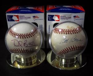Bob Boone Autographed Baseball And Dee Brown Autographed Baseball, Both In Holders