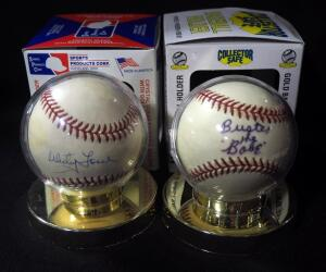 Whitey Ford (HOF) Autographed Baseball And Buster The Babe Autographed Baseball (See Description), Both In Holders