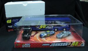 Lionel Jimmie Johnson #48 Lowe's 5X Champ 2010 Impala 1:24 Diecast Car, NIB And Winner's Circle Jimmie Johnson 1:64 Trailer Rig And 2 Car Set