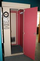 "Hex Level 4 Stand Up Tanning Booth Model 48N5, Includes Dressing Room With T-MAX Timer, Bulbs Replaced In December 2019, Bidder Responsible For Proper Removal, Hardwired To Electrical System, Booth Measures 84"" x 36"" x 36"", Dressing Room Measures 84"" x 43"