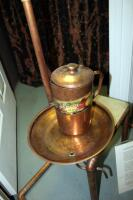 "Copper Shirodhara Ayurvedic Oil Vessel Pot With Control Valve, Includes Stand, Spa Print, And Additional Accessories, 59"" x 28"" x 21"" - 13"
