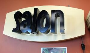 "Retail Interior LED Salon Sign 16"" x 36"" x 9.5"", Powers On, Bidder Responsible For Proper Removal"