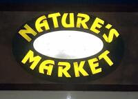 Exterior Nature's Market Electric LED Sign, Approx 5' Tall x 6' Wide, Bidder Responsible For Proper Removal, Mounted To Building Exterior And Wired To Electrical System - 4